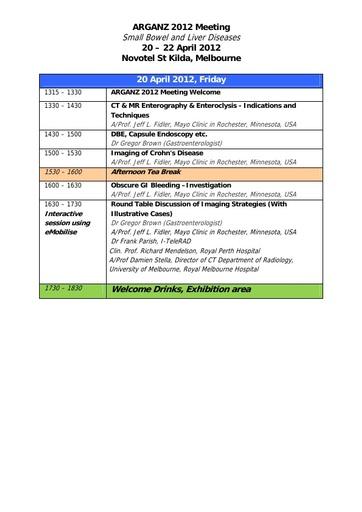 ARGANZ 2012 Program